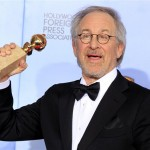Director Steven Spielberg poses backstage after winning the award for &quot;The Adventures of Tintin&quot; at the 69th annual Golden Globe Awards in Beverly Hills